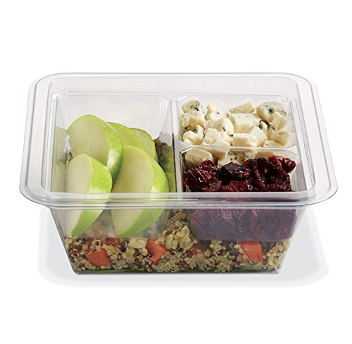 PLACON Fresh'n Clear GOCUBES Set: 16 oz Clear Plastic Container with 3-Compartment Clear Insert Tray and Clear Lid, (50 SETS), PET Material