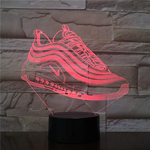 3D-nachtlampje, sneaker, lamp, illusie, 7 kleuren, optiek, LED-lamp, verjaardagscadeau, kerstcadeau, kinderkamer, slaapkamer, art decoratie