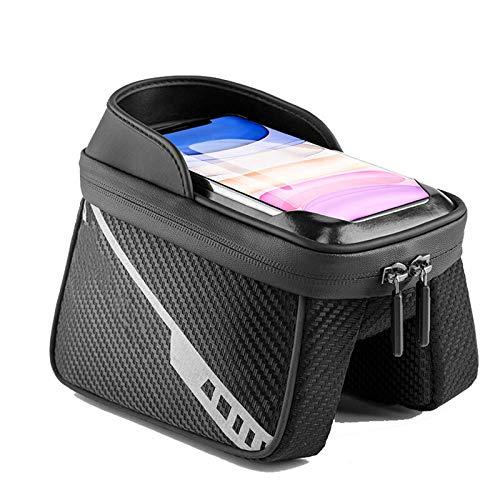 Bolsas de bicicleta 1L Front Bike Bag sensible pantalla táctil reflectante bolsa de bicicleta doble cremallera separada bolsa de almacenamiento MTB Accesorios para bicicleta de montaña BMX