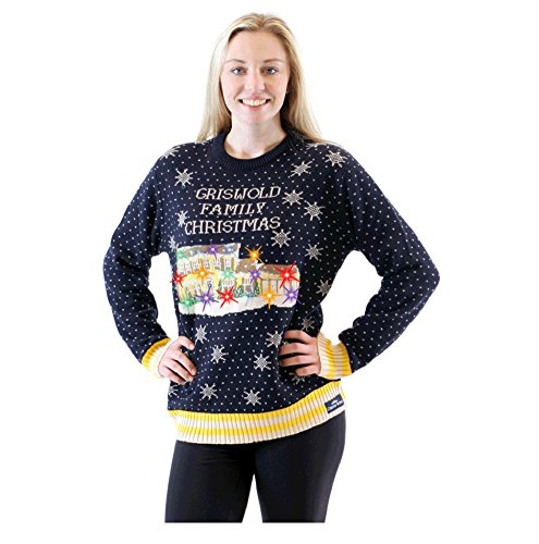 Griswold Christmas Vacation Light Up House Navy Ugly Sweater (Adult Small)