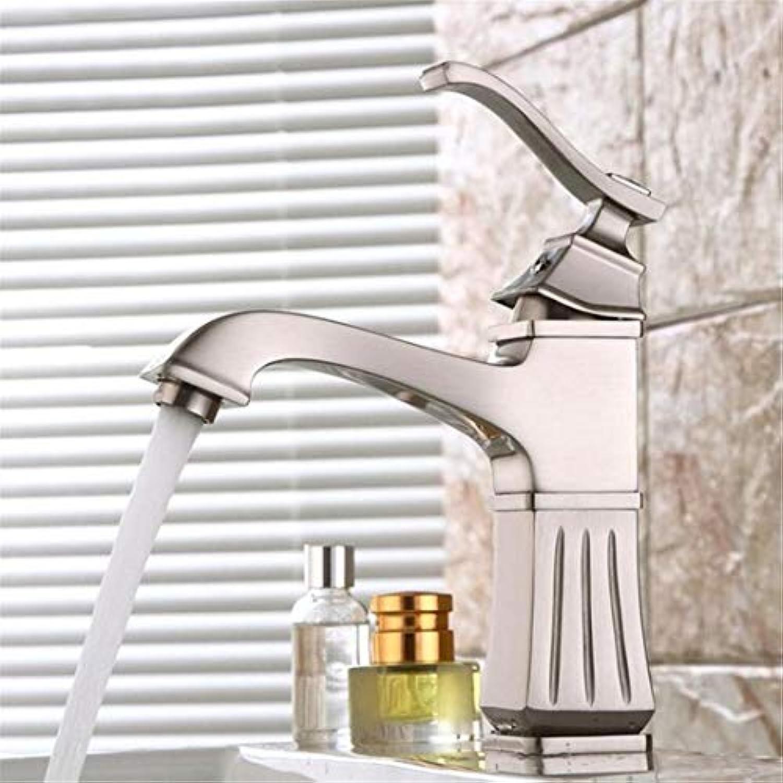 Europischen Kupfer Bad Wasserhahn Nickel Gebürstet Einhand Hot & Cold Water Mischbatterie Waschbecken Badezimmer Deck Montiert Armaturen