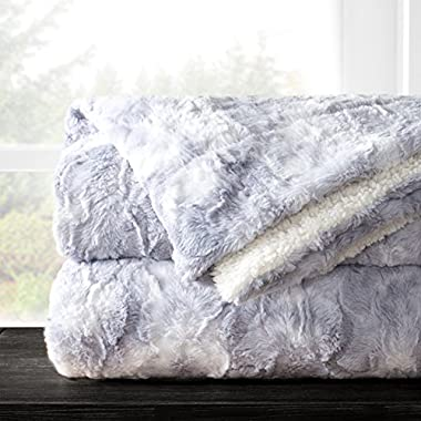 Italian Luxury Egyptian Luxury Super Soft Faux Fur Throw Blanket - Elegant Cozy Hypoallergenic Ultra Plush Machine Washable Shaggy Fleece Blanket - 60 x70  - Light Gray
