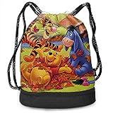Happy Winnie The Pooh Bundle Zaino con Coulisse per Palestra Sport String Bag School Yoga Kids Zaini da Viaggio per Uomo e Donna