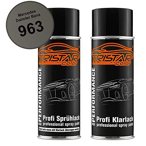TRISTARcolor Autolack Spraydosen Set für Mercedes/Daimler Benz 963 Indiumgrau Metallic/Iridium Grey Metallic Basislack Klarlack Sprühdose 400ml