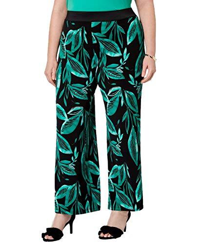 Alfani Womens Plus Printed Mid-Rise Palazzo Pants Green 0X