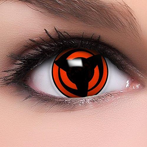 Linsenfinder Sharingan Kontaktlinsen mit Stärke 'Mangekyou' + Behälter Farbige Kontaktlinsen perfekt zu deinem Anime Cosplay Kostüm