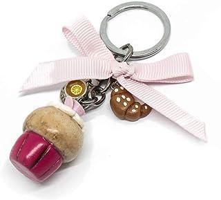 Portachiavi con cupcake rosa brioches e tazzina