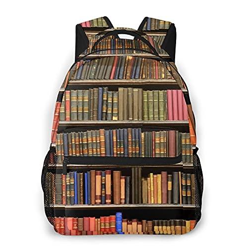 LUDOAN Zaino da viaggio per laptop,libri retrò da biblioteca con scaffale da studio,zainetto antifurto resistente all'acqua da lavoro,sottile e durevole