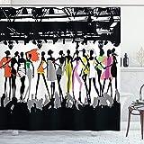 ABAKUHAUS Duschvorhang, Mode Frauen Models Bühne Designer Fashion Top Model Thematisierte Bühne zuschauern Stage Druck, Wasser & Blickdicht aus Stoff mit 12 Ringen Schimmel Resistent, 175 X 200 cm