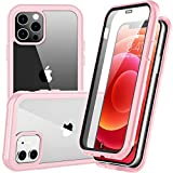 Redpepper Compatible with iPhone 12 Case,Compatible with iPhone 12 Pro Case, Shockproof Built-in Screen Protector Clear Full Body Case (Pink)