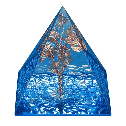 ZTTT Kristallkupferdrahtbaum des Lebens Pyramid Steinfiguren (Color : Dark Blue)