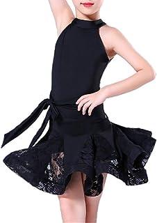 Vestido de baile de las niñas, Niños Niñas Sin mangas Cuello redondo Spandex Vestido de baile latino Ruffle Lace Rumba Sam...