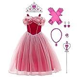 IBAKOM - Vestido de Cenicienta para niña, disfraz de princesa, disfraz de cuento de hadas, diseño Sophia Raiponce Cosplay Halloween Carnaval Navidad con accesorios Rosa (con accesorios). 11-12 Años
