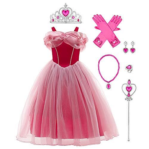 IWEMEK Costume da cenere da bambina, Sofia Aurora Cenerentola, vestito da principessa, con accessori per cosplay, Halloween, carnevale, Natale, feste #E: set Aurora 4-5 Anni