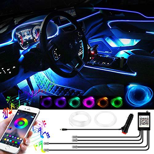 YAOBLUESEA 12V Auto LED Innenbeleuchtung, 6M LED 5050 RGB Ambientebeleuchtung Neon Lichtleiste, Wasserdichte LED Atmosphäre Licht Strip Streifen mit APP