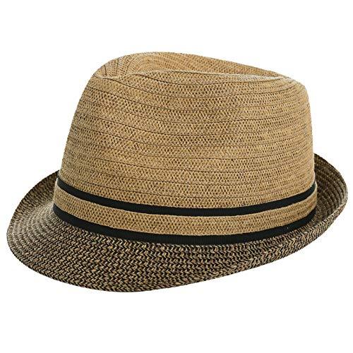 Jeff & Aimy 1920s Straw Panama Fedora Hat Cap for Men Sun Summer UPF 50 Gatsby Derby Hat for Womens (92569#Coffee, Medium)