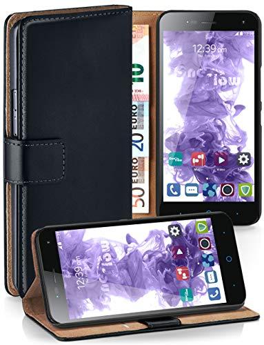 moex Klapphülle kompatibel mit ZTE Blade L3 Hülle klappbar, Handyhülle mit Kartenfach, 360 Grad Flip Case, Vegan Leder Handytasche, Schwarz