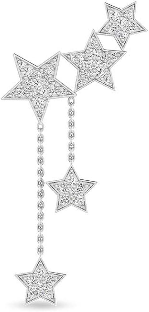 Star Ear Cuff IGI Certified Diamond Drop Earring for Women, 14k White Gold Star Diamond Chain Earrings, Unique Studded Push Back Earring with IJ-SI Color Clarity