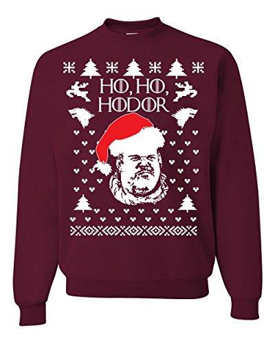 Ho Ho Hodor GoT Ugly Christmas Sweater Unisex Crewneck Sweatshirt ( Maroon , Medium )
