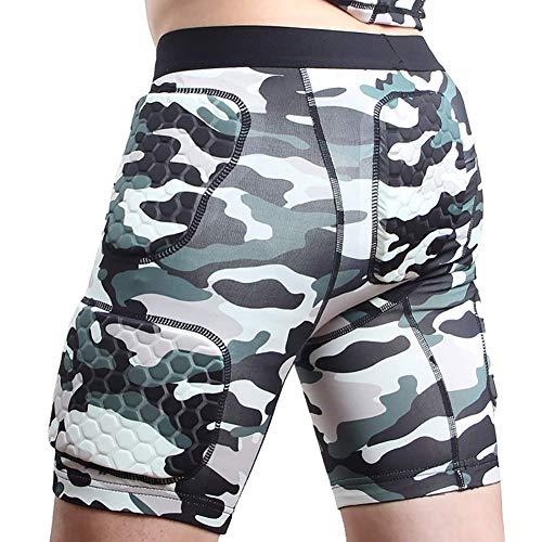 ZAKEY Gepolstertes T-Shirt und Shorts für Herren, Rippenschutz, Rashguard für Rugby, Ski, Fußball, Basketball, Baseball, Hockey, Fußball, Paintball, Größe M, Camouflage