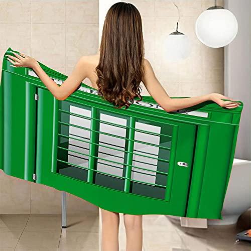 ZCLCHQ Toalla de baño Juego de impresión Digital en 3D Cabina de teléfono y Verde baño de Picnic de Playa para Adultos Suministros de baño para el hogar Tamaño:90 x 180 cm