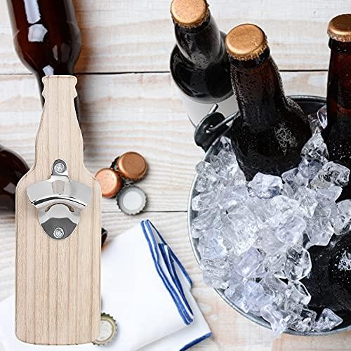 Abridor de botellas montado en la pared, forma de botella de cerveza para el hogar, abridor de botellas de cerveza de vino de madera, accesorios adhesivos magnéticos para nevera(Color madera)