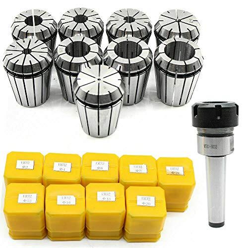 Juego de 9 alicates de sujeción MK3 M12 ER32, 2 – 20 mm para fresadora