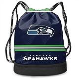 BINGOGO American Football Team Seattle Beam Backpack Unisex Double Shoulder Adjustable Backpack Drawstring Backpack