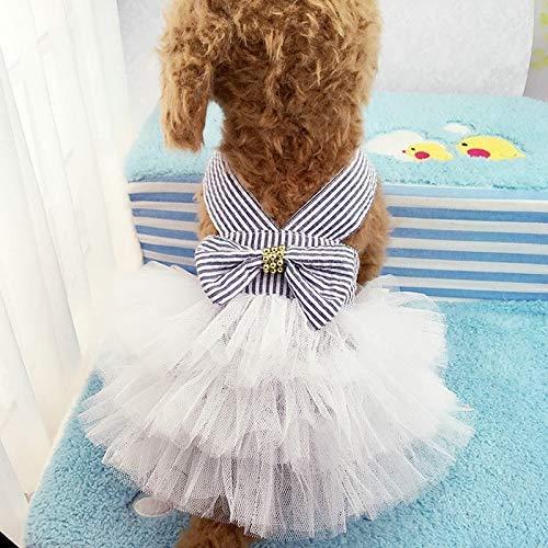 Tuzi Qiuge Haustierkleidung, Sommerwelpen Prinzessin Brautkleid Anzug Welpen Kleidung Hemd Kleidung, Größe: s (Color : Jean White)