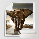 FFFTAN Manta,Más Gruesa Manta Suave Felpa Acogedor Sherpa Únicos Elefantes Caminando Impresión De Oficina Manta Manta Almuerzo Regalos para Adultos Niños Amigos 150 * 200 Cm.