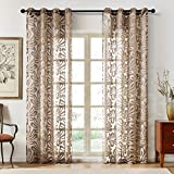 Topfinel Voile Curtains Eyelet Glass Yarn Thick Burnt Floral Embroidered Patten Sheer Curtains Window Treatments for Bedroom Living Room Porch 90x90 Drop Brown,Single Panel
