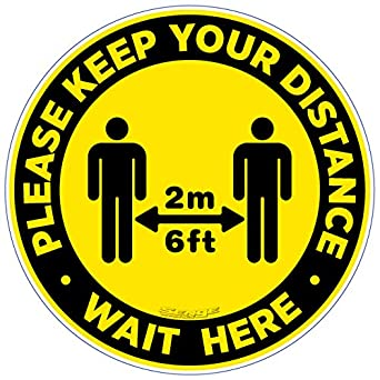 Red, 15 Pack 12 inch Floor Graphic Non-Slip Social Distancing Sign Reopen Your Store Safe for COVID-19