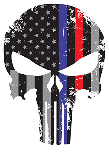 K9King Punisher Skull 5.5 x 4 Inch Tattered Subdued Us Flag Reflective Decal with Thin Blue and Red Line