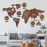 FCX-CLOCKUHR Juego de mapas mundiales de Madera en 3D con Relojes - Marrón 220x120 cm MDF Relojes de Hora Mundial Relojes de Pared Signos Continentes Países Decoración de Paredes/Murales