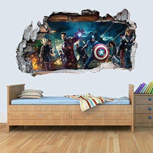 GNG Marvel Avengers Vinyl Smashed Wandkunst Aufkleber Aufkleber Schlafzimmer Jungen MädChen 3D L