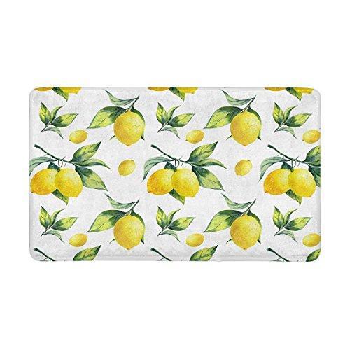 Fruit Decor Yellow Lemon Door Mats Kitchen Floor Bath Entryway Rug Mat Absorbent Indoor Bathroom Decor Doormats Rubber Non Slip 20 x 31.5 inches