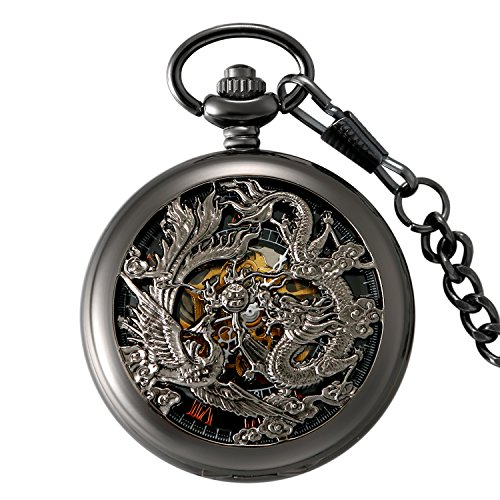 Hand-Wind Mechanical Pocket Watch for Men Retro Steampunk Hallow Pocket Watch Roman Numerals Dial Dragon and Phoenix Bronze Case with Durable Chain Pendant - Black