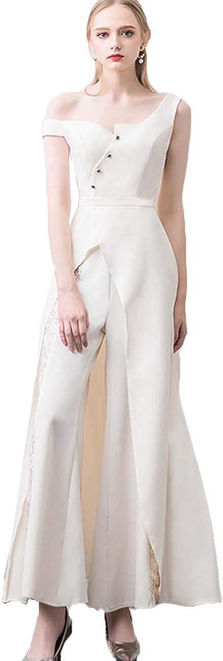 Xixi House Chic Wedding Dress 2021 Satin Jumpsuit Bridal Gown Cool Dissymmetry Neck Party Clothes Bridal Trousers