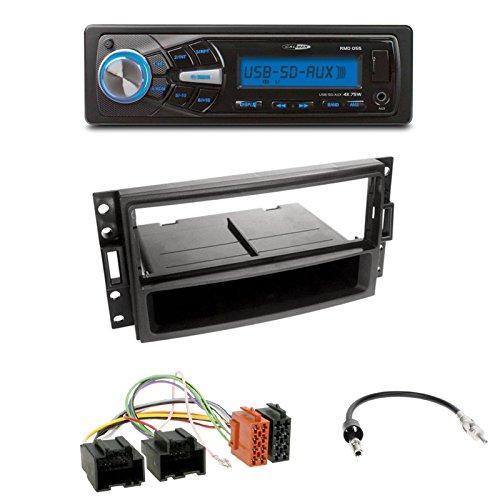 Radioeinbauset : Autoradio Caliber RMD055 USB/SD/FM-Tuner/AUX-IN + 1-DIN Radioblende + Fach Radio Blende Halterung schwarz + ISO-Adapter für Chevrolet Corvette (C6) 2005-2007 Uplander 2005-2008