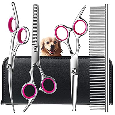 Dog Grooming Scissors kit with Safety Round Tips, TINMARDA Stainless Steel Professional Pet Grooming Trimmer Kit - Thinning, Straight, Curved Shears and Comb for Long Short Hair for Cat Pet by mucheng