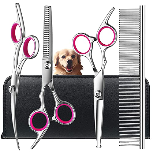Dog Grooming Scissors Kit with Safety Round Tips, TINMARDA Stainless Steel Professional Dog Grooming Shears Set - Thinning, Straight, Curved Shears and Comb for Long Short Hair for Dog Cat Pet