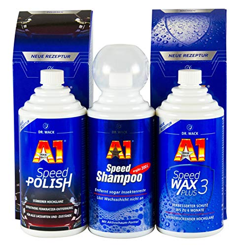DR. WACK A1 Speed Polish Politur 500ml & Speed Wax Plus 3 500ml & Shampoo 500ml