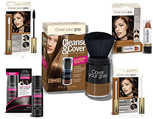 Cover Your Roots - Cover, Cleanse and Refresh: 5 Piece Gray Coverage Set, Medium Brown