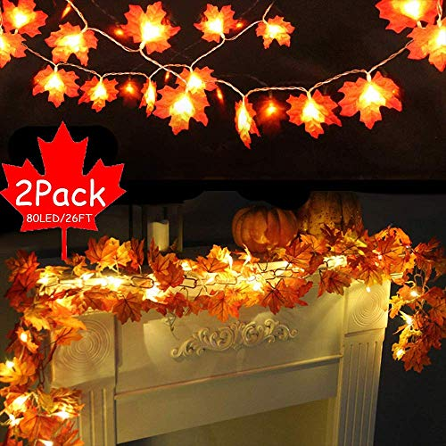 2 Pack Thanksgiving Decorations Maple Lights Fall Garland with Lights Decor Outdoor Indoor,Total 26 ft 80 LED Maple Leaves 3 AA Battery Powered,Autumn Garland for Mantle Stairs (80 LED fall garland)