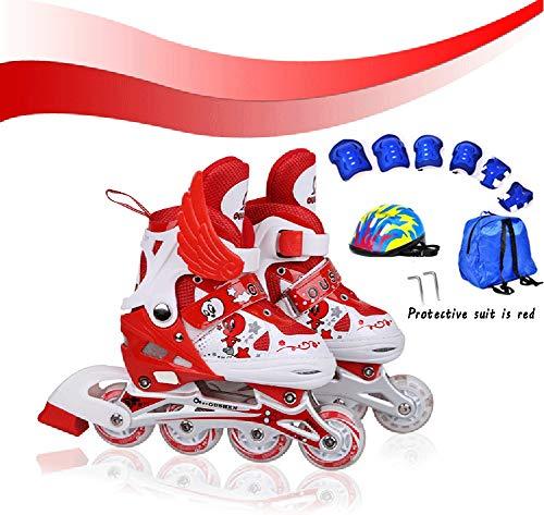 Inline Skates Kinder Verstellbar Beleuchtung mit Inliner Protektoren Outdoor Ausrüstung Roller Skates Mädchen Jungen 31-42 Geburtstagsgeschenk für Beste FreundinM