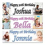 2 Personalised Birthday Banner Photo Children Baby Adult Party Poster Decoration All Occasions Banner 2ftx6ft