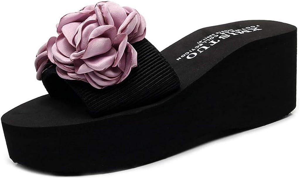 MIOKE Women's Flower Wedge Slide Sandals Fashion High Heel Platform Comfort Anti-Slip Summer Beach Sandal