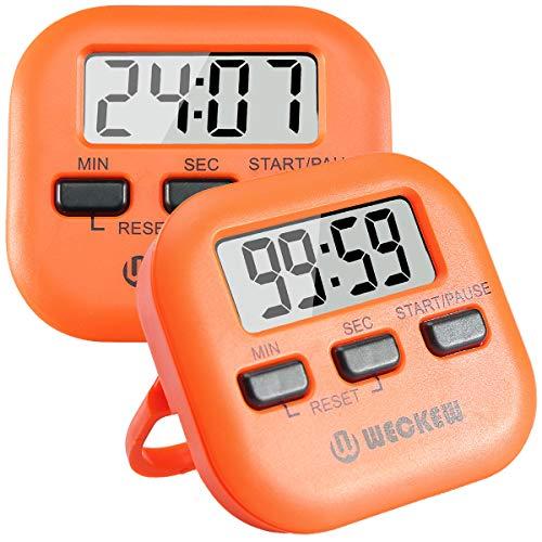 WECKEW Digitaler Küchen-Timer, magnetisch, Countdown-Stoppuhr mit lautem Alarm, große Ziffer, Ständer für die Rückseite, Loch zum Aufhängen, zum Kochen, Dusche, Badezimmer, Kinder, Lehrer S-2Orange