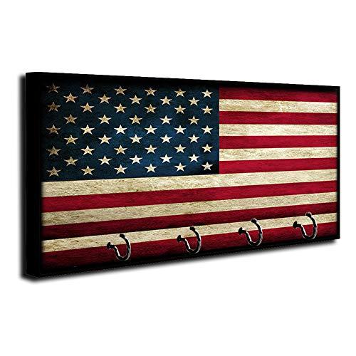Brotherhood Subduded Distressed American Flag Old Glory Key Holder Organizer Wall Mount Rack for Holders The Home Keys Ring Decorative Hangers Decor Hook Hanger
