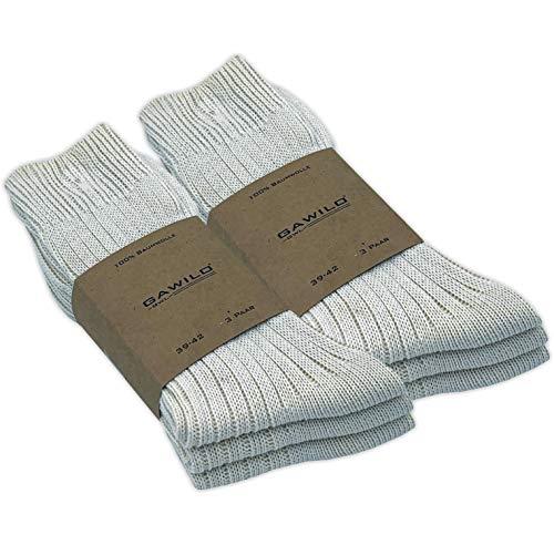 GAWILO 6 Paar Natur Baumwoll Socken – Damen & Herren – 100{f15fbf77e6991a39d5b157a28402409399c394532a27bd9af3e0972d511cd100} reine, naturbelassene Baumwolle – ohne Naht – kochfest – etwas gröber gestrickt – für den Outdoor-Bereich geeignet (43-46, natur)
